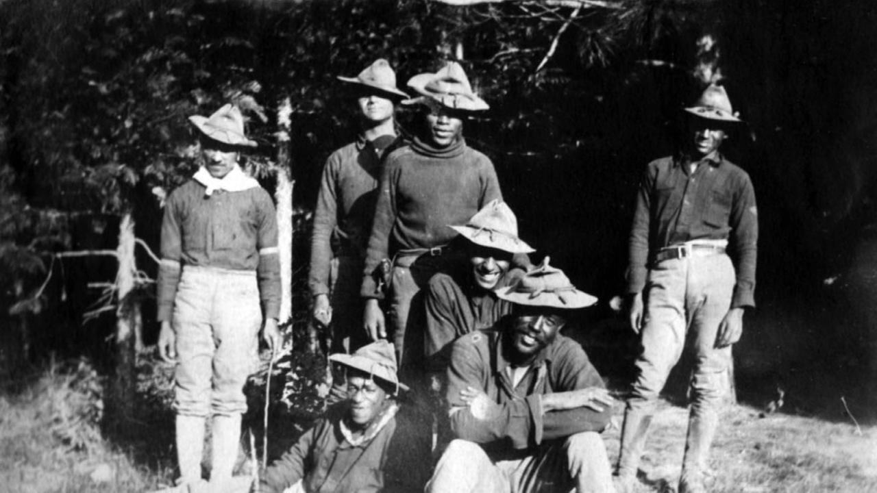 Buffalo soldiers of the 25th Infantry or the 9th Cavalry, while stationed at Yosemite National Park. ca. 1899