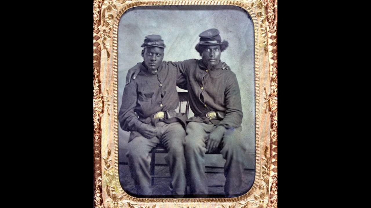 Two African American soldiers wearing Union uniforms. Tintype ca. 1860-1870