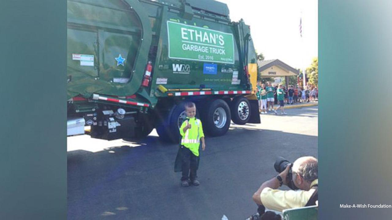 Ethan Dean, 6, had his wish to be a garbage man granted by the Make-A-Wish Foundation.