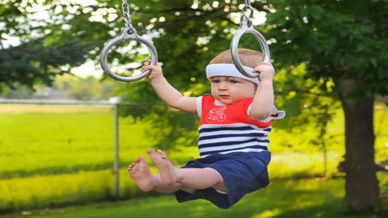 Rockwell Lawrence, 1, of Paradise, Utah, was photographed by his dad, Alan Lawrence, playing Olympic sports.Alan Lawrence