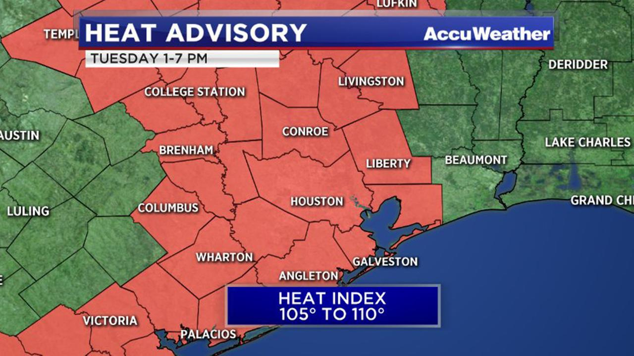 Heat Advisory issued for SE Texas for Tuesday