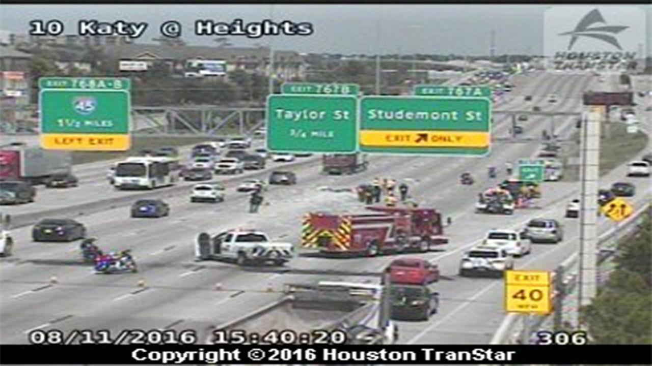 Three lanes closed on IH-10 Katy eastbound at Heights Blvd