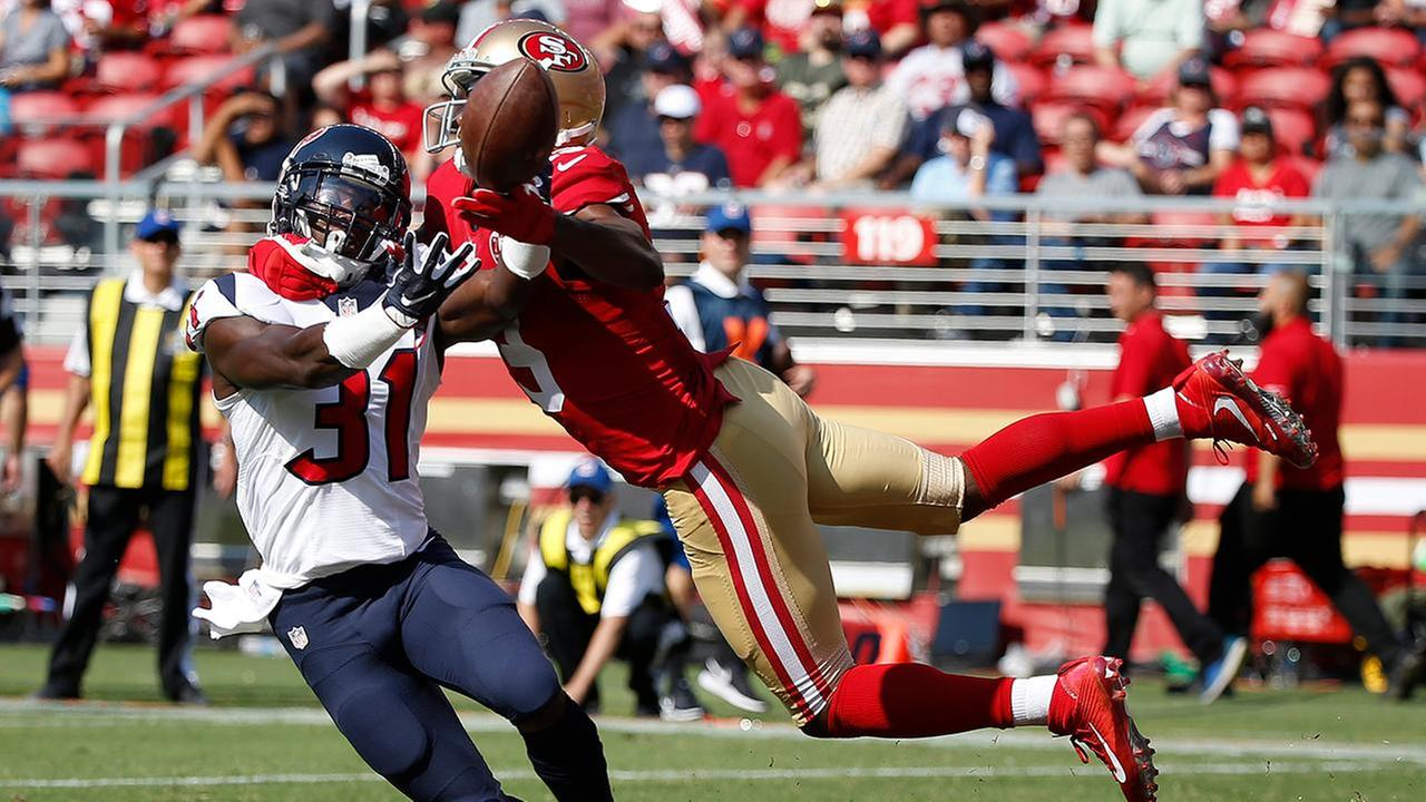 Houston Texans defensive back Charles James (31) breaks up a pass intended for San Francisco 49ers wide receiver DiAndre Campbell.AP Photo/Ben Margot