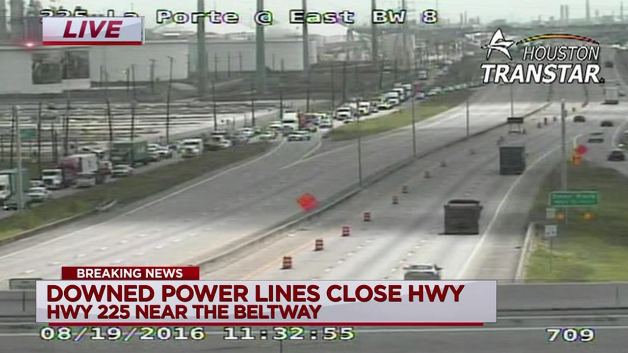 SH-225 at Beltway 8 reopens after power lines cleared from freeway