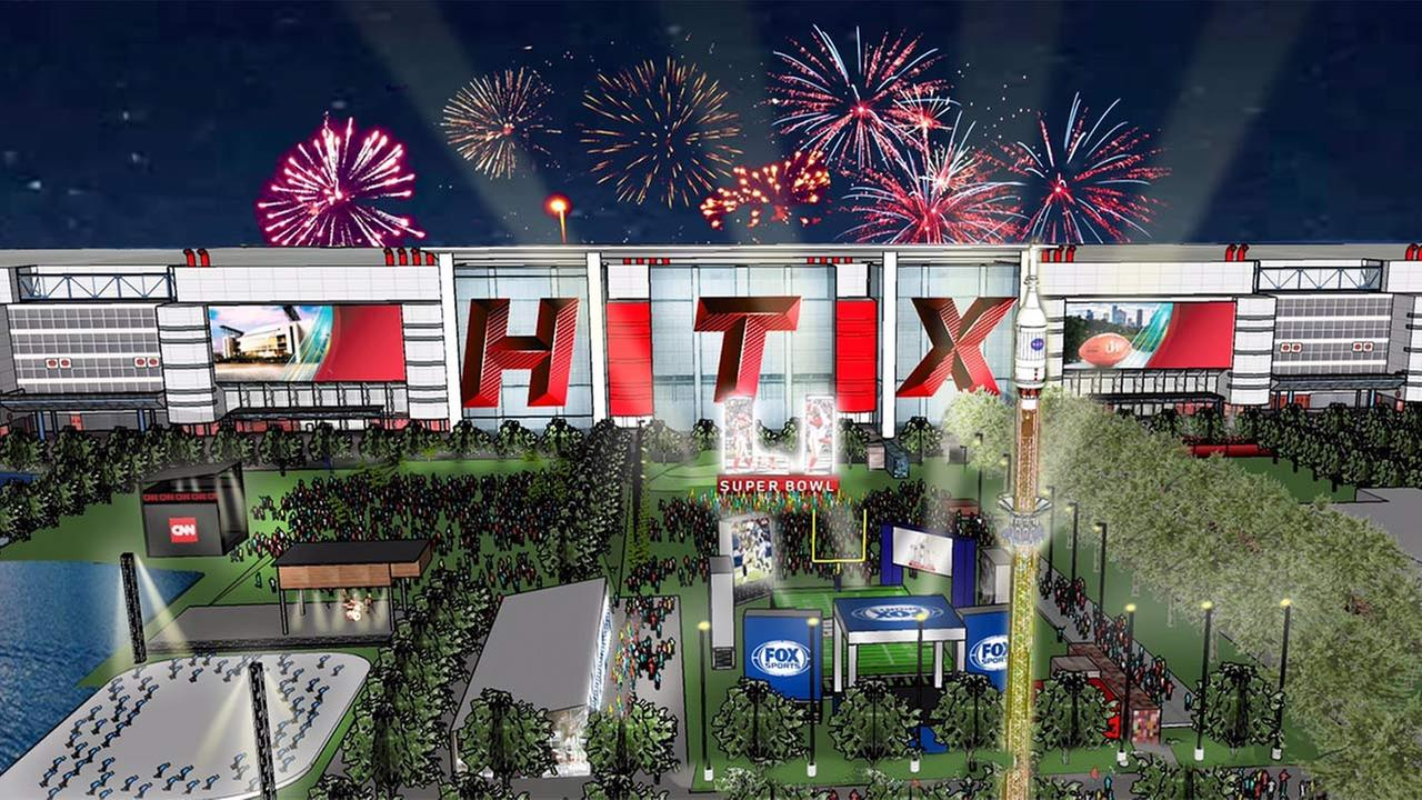 A rendering of what things might look like around Discovery Green and the GRB Convention Center during the Super Bowl. (Credit: @HouSuperBowl)