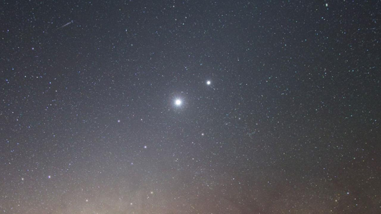 Venus and bright Jupiter approach conjunction in 2008.