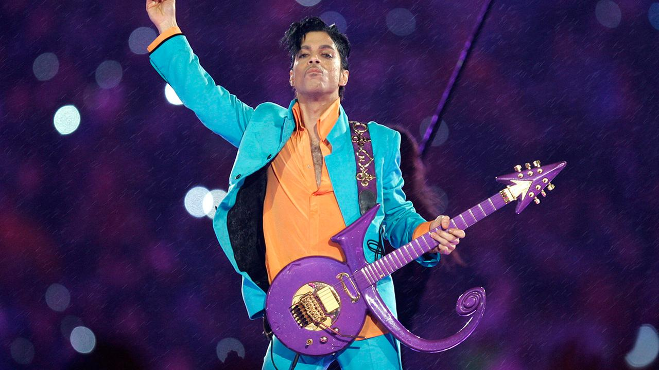 Prince performs during the halftime show at the Super Bowl XLI football game at Dolphin Stadium in Miami.