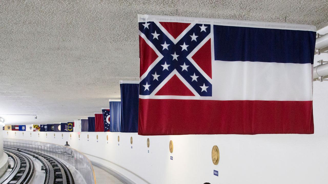 The Mississippi state flag is displayed with the banners of other American states, territories and commonwealths in Washington, D.C.