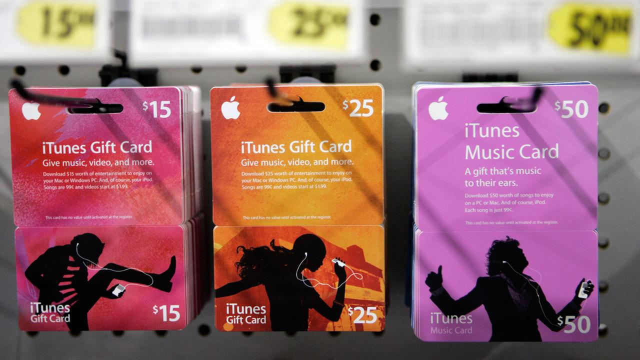 Apple iTunes Gift Cards on display at Best Buy in Mountain View, Calif., Thursday, April 3, 2008.