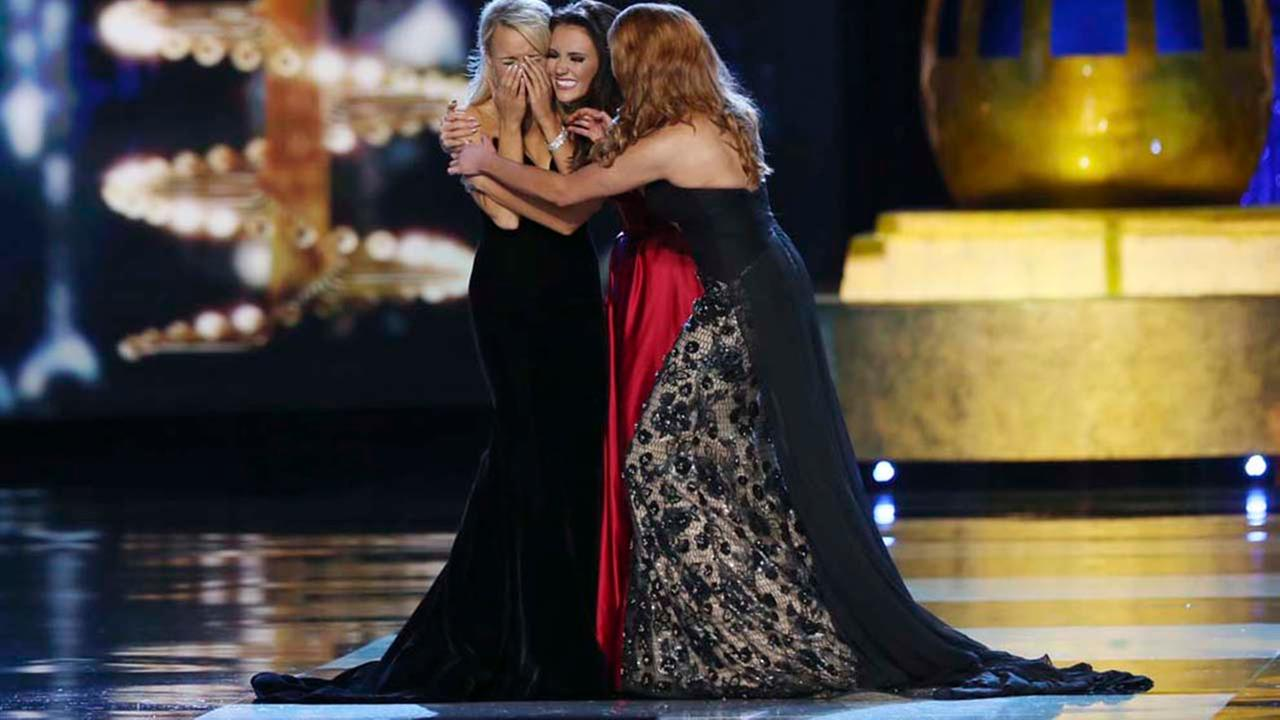 Miss Maryland Hannah Brewer, center, and Miss Texas Caroline Carothers, right, congratulate Miss Arkansas Savvy Shields as Miss America during the Miss America 2017 pageant.AP