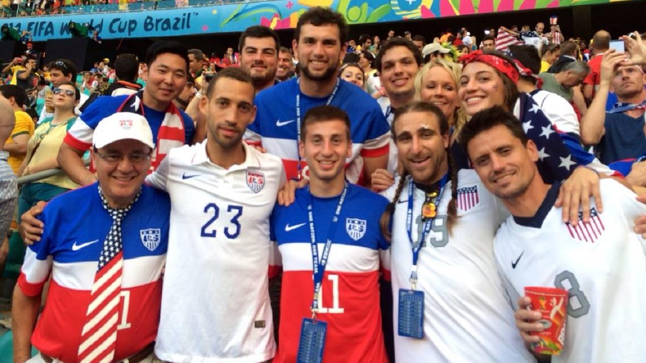 Family members of the U.S. Mens soccer team before the match against Belgium