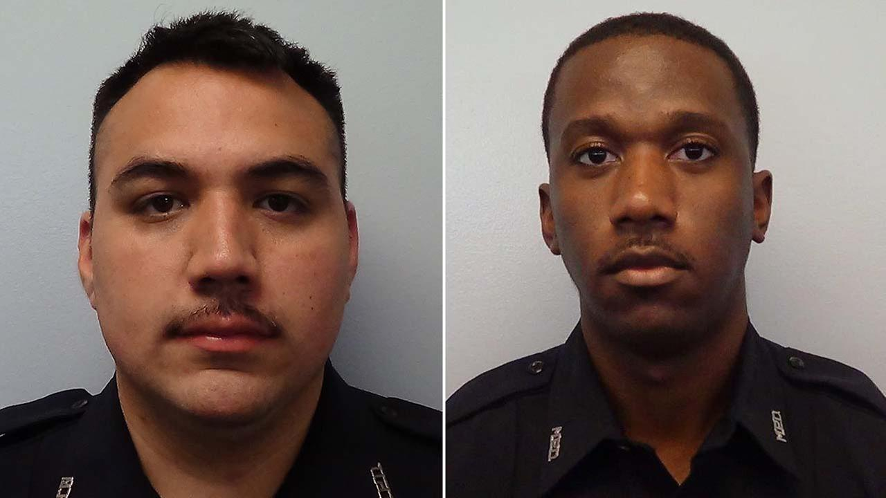 Officer D. Reynoso, left and Officer J. Warren