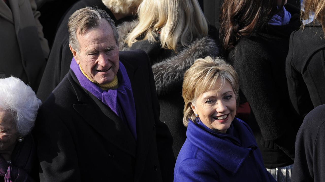 George H.W. Bush and Hillary Clinton