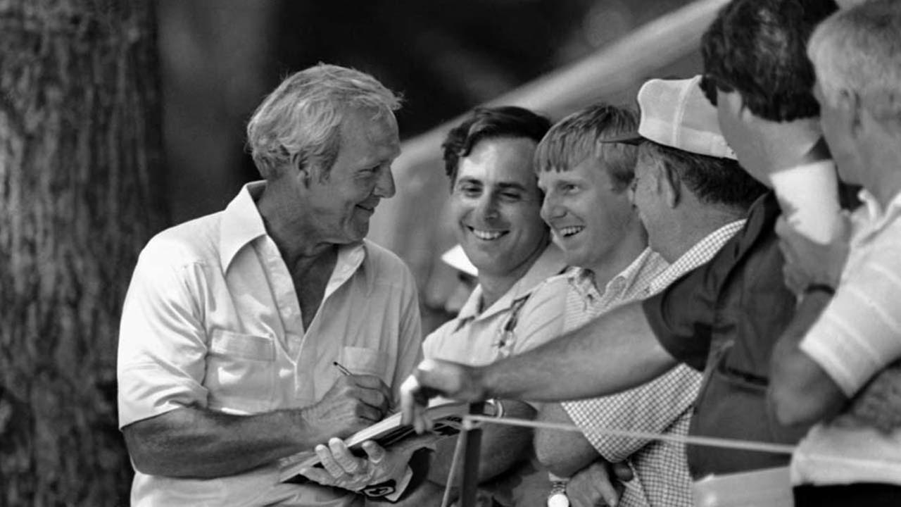 Some happy members of Arnies Army collect autographs from veteran golfer Arnold Palmer on Wednesday, June 18, 1981 during practice round for the U.S. Open in Philadelphia.ASSOCIATED PRESS