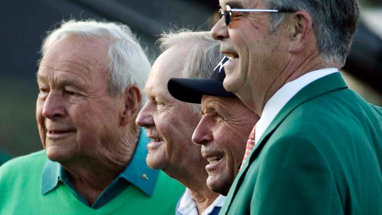 From left, Arnold Palmer, Jack Nicklaus, Gary Player and Billy Payne, Chairman of the Augusta National Golf Course pose for photos in 2014.AP