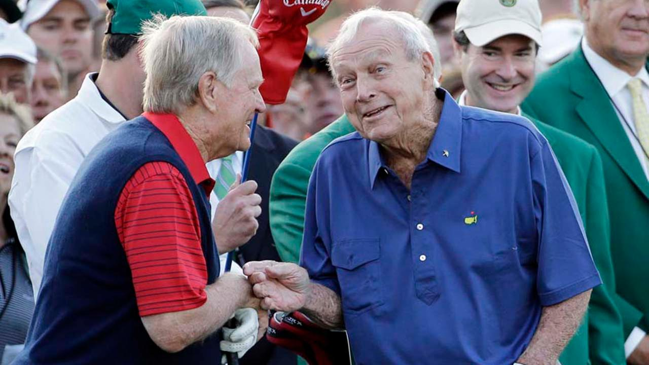 Arnold Palmer, right, after hitting on the first tee for the honorary tee off before the first round of the Masters golf tournament Thursday, April 9, 2015.AP