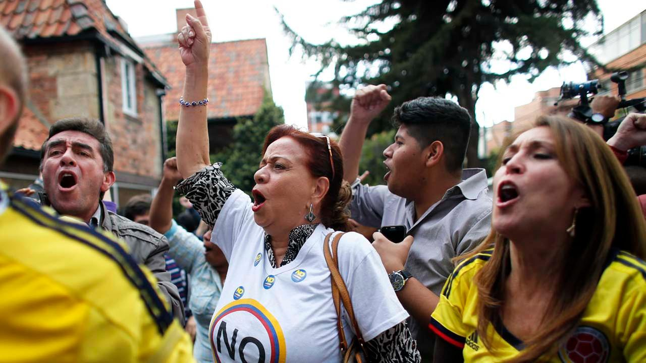 Opponents to the peace deal signed between the Colombian government and rebels of the Revolutionary Armed Forces of Colombia, FARC.AP