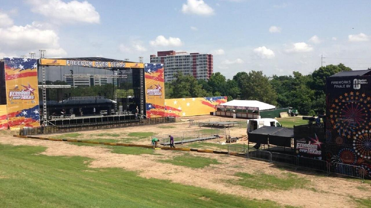 Crews are hard at work getting ready for the Southwest Airlines Freedom Over Texas at Eleanor Tinsley Park