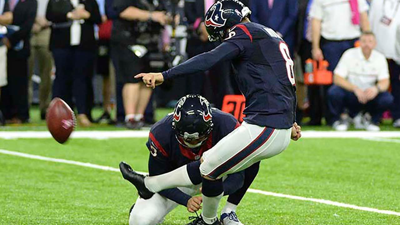 Houston Texans kicker Nick Novak (8) kicks a 33-yard field goal during overtime against the Indianapolis Colts, Sunday, October, 16, 2016, in Houston. Houston won 26-23.AP Photo/George Bridges