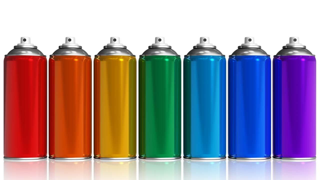 Stock image of spray paint cans