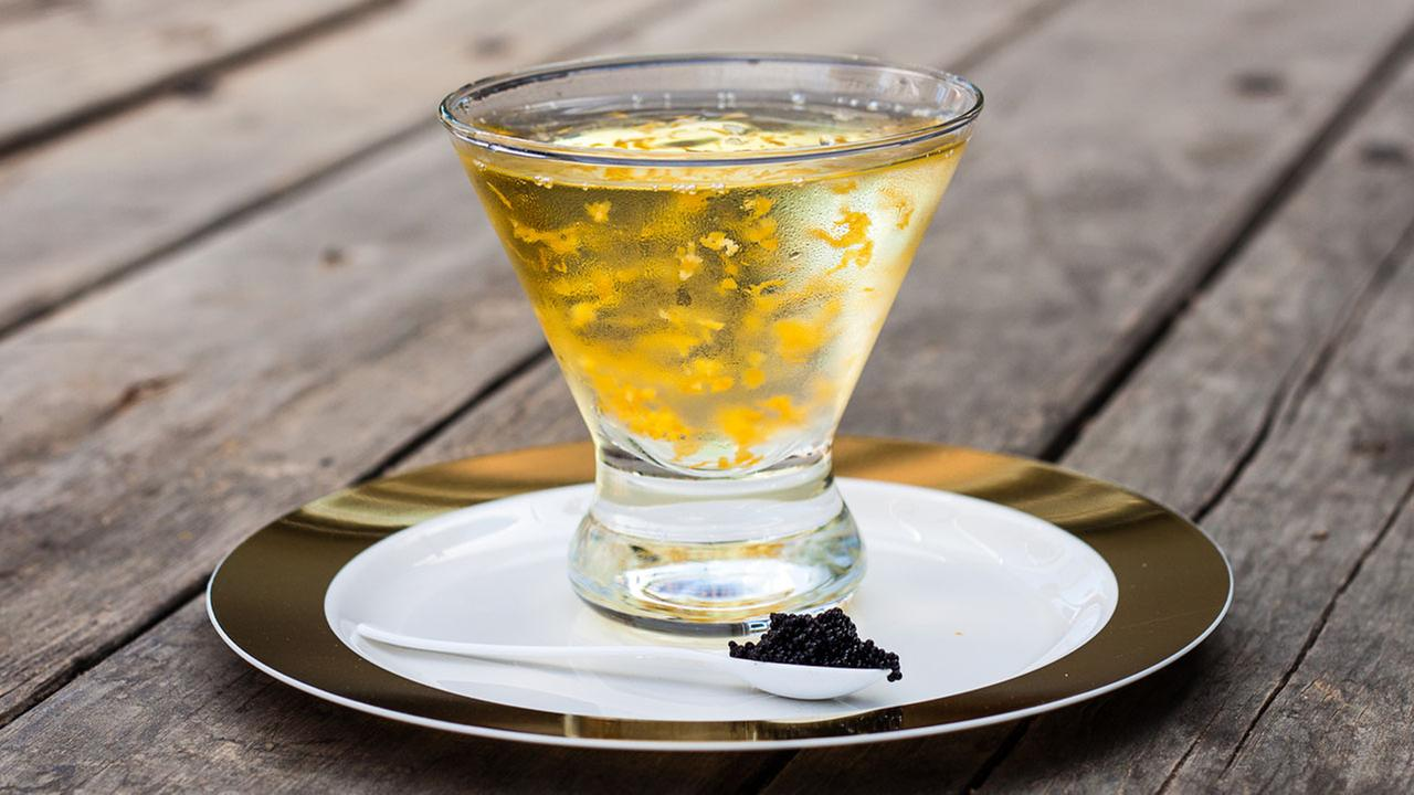 A rich blend of Karlssons Gold Vodka and vermouth dusted in gold flakes, Trumptini is served in a martini glass and accompanied by a gold-rimmed plate of caviar. It?s fabulous.The General Public