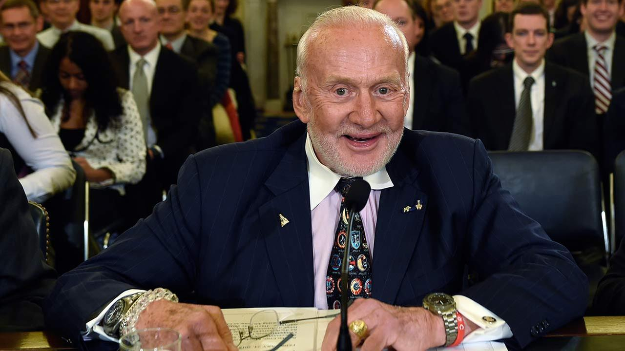 Buzz Aldrin, former NASA Astronaut and Apollo 11 Pilot, prepares to testify on Capitol Hill in Washington, before the Senate subcommittee on Space, Science, and Competitiveness
