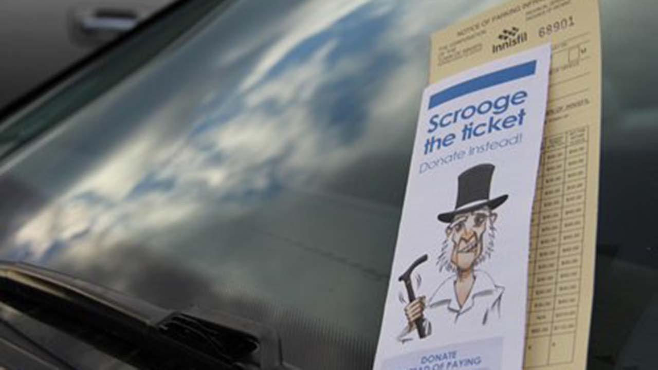 The Scrooge the Ticket campaign allows parking offenders to donate funds and goods to a food bank in lieu of paying parking fines.