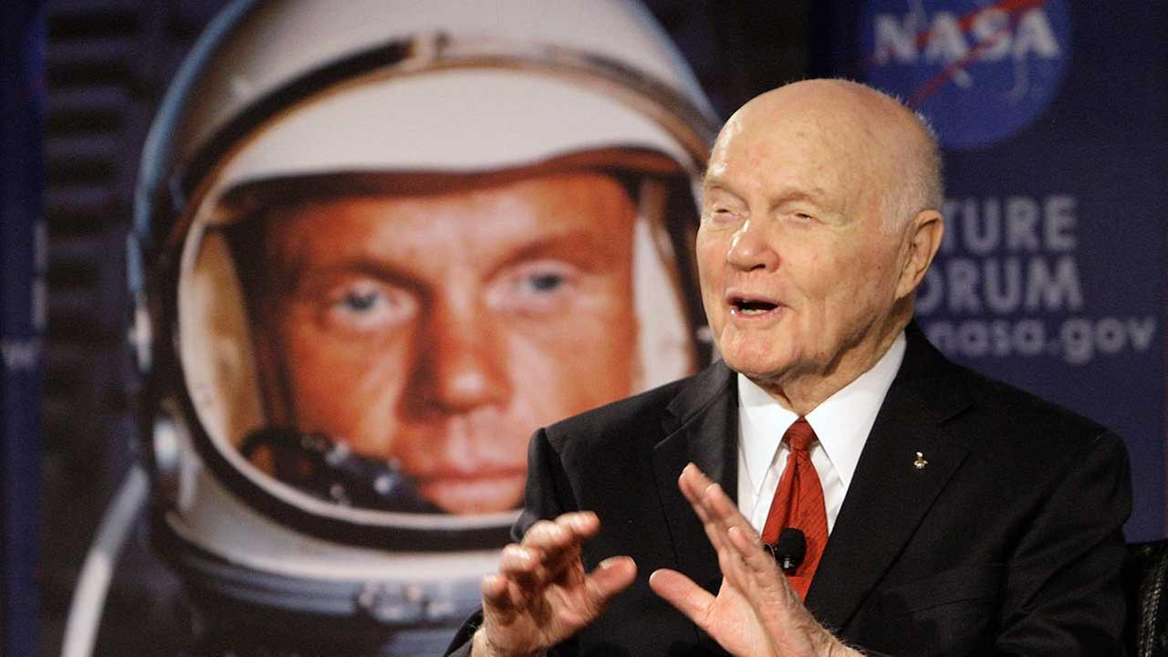 In this Feb. 20, 2012, file photo, U.S. Sen. John Glenn talks with astronauts on the International Space Station via satellite.