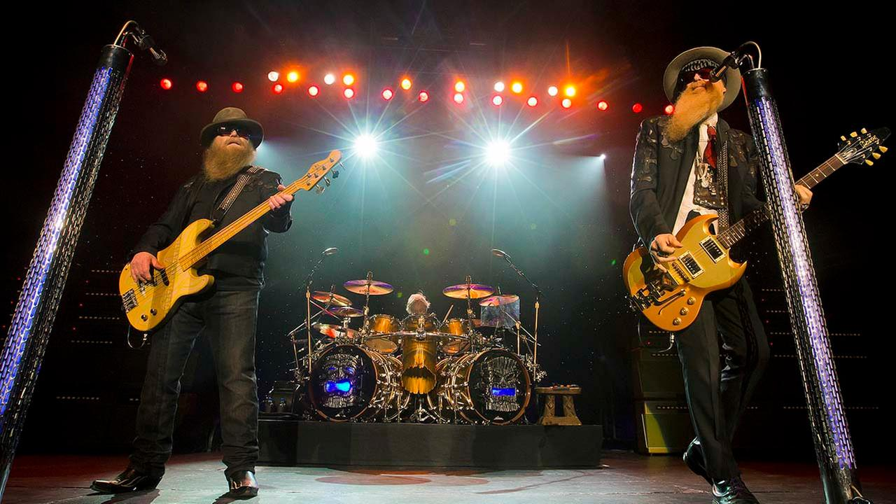 ZZ Top, left to right, Dusty Hill, Frank Beard and Billy Gibbons perform at Blue Hills Bank Pavilion on Sunday, August 28, 2016 in Boston. (Photo by Winslow Townson/Invision/AP)Winslow Townson/Invision/AP