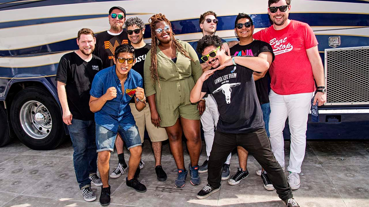 Jon Durbin, from left, Pat Kelly, Jose Luna, Kevin Bernier, Kam Franklin, Adam Castaneda, Cory Wilson, Michael Razo, and Nick Zamora of The Suffers.Amy Harris/Invision/AP
