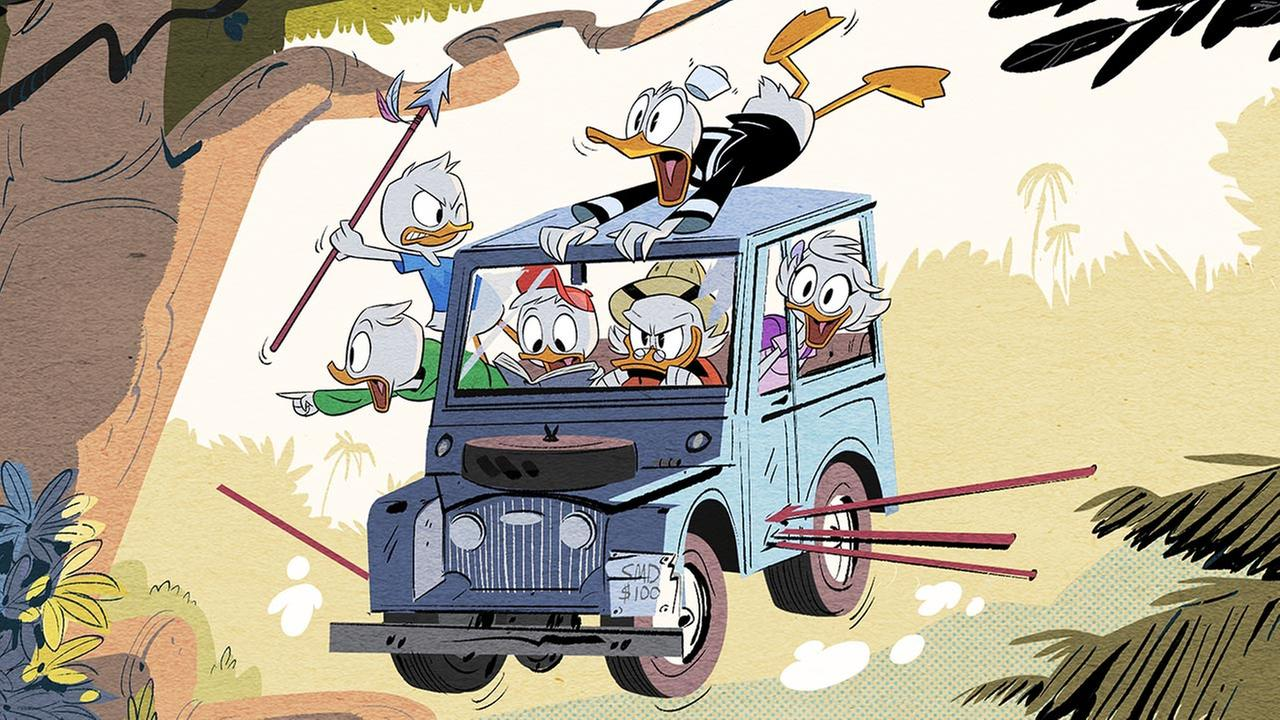 This image released by Disney XD shows a scene from Disneys DuckTales, an all-new animated comedy series based on the Emmy Award-winning series starring Scrooge McDuck.