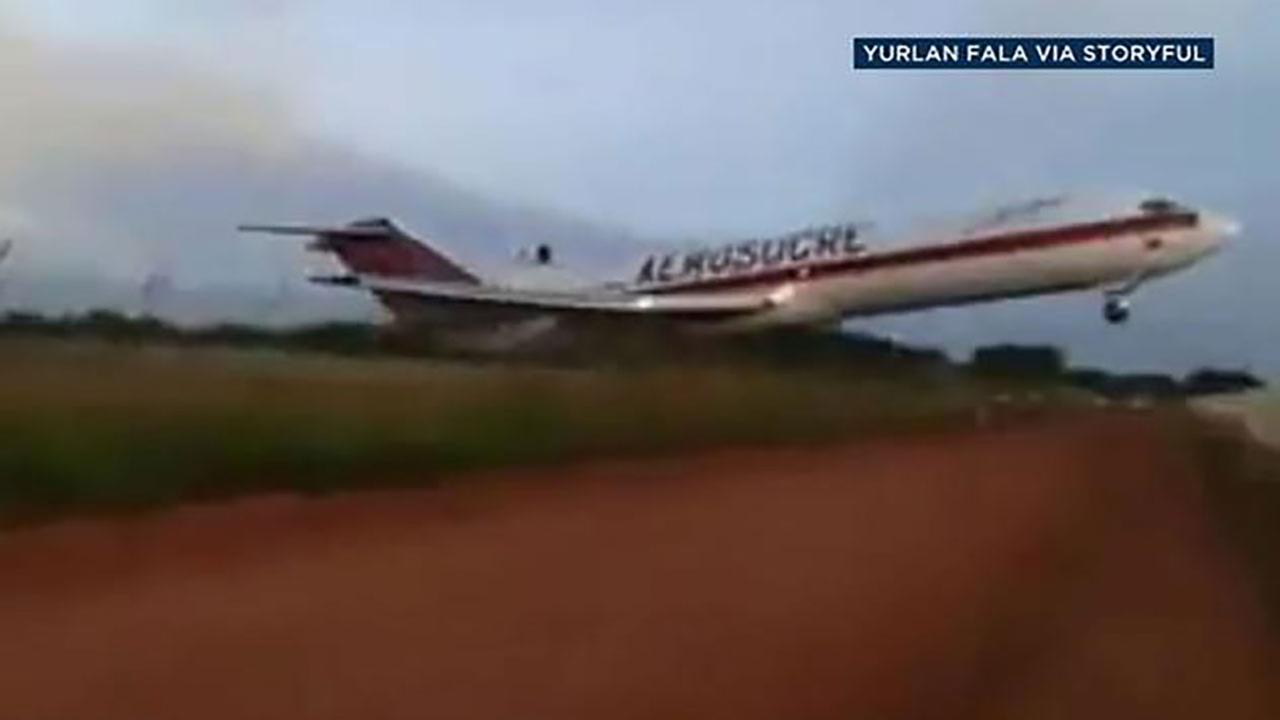 Cargo jet plane crashes after take-off in Colombia airport