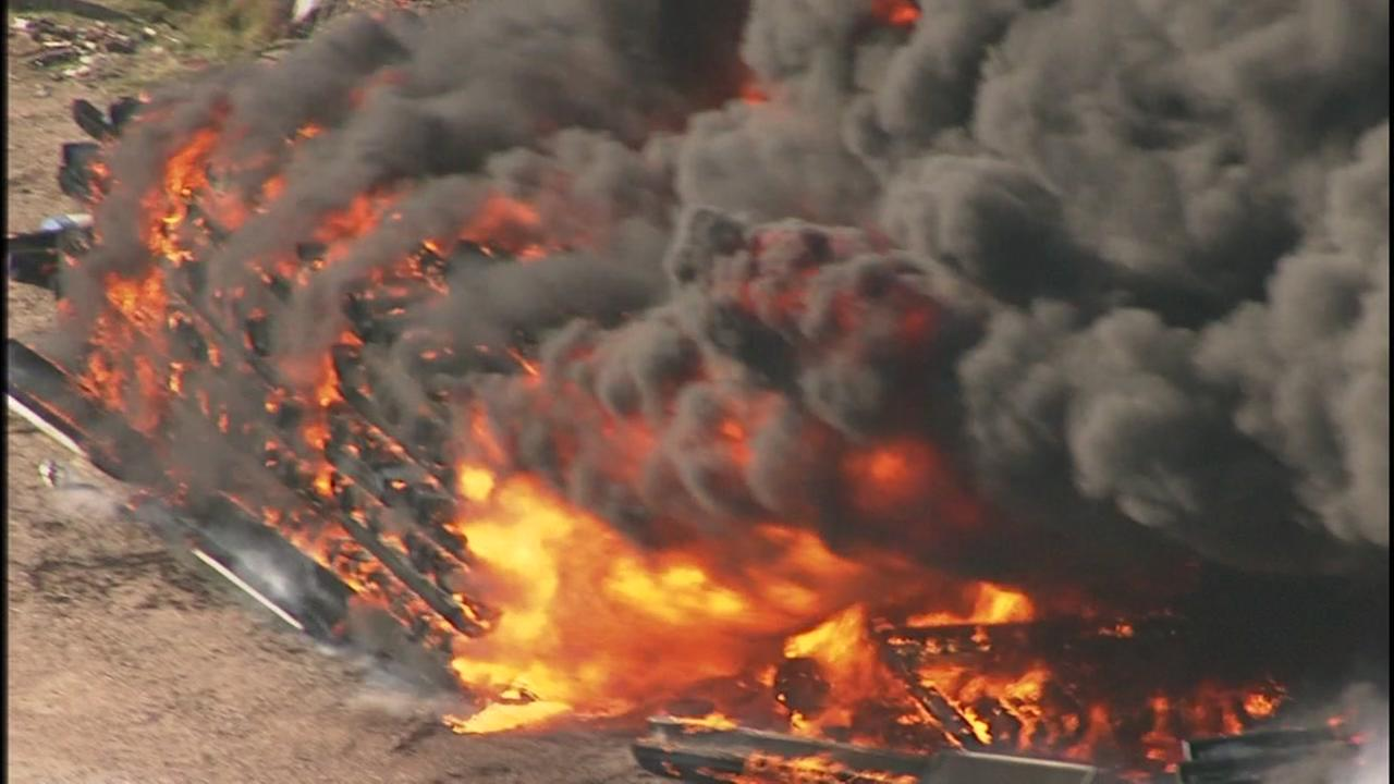 A fire burns in Fort Bend County at an industrial park. A shelter-in-place is in effect for folks in a half-mile radius.