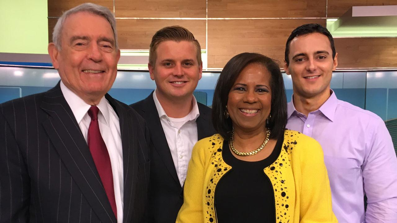 Former CBS Evening News anchor Dan Rather flanked by ABC13 reporter Steve Campion (from left), anchor Melanie Lawson, and reporter Steven Romo.