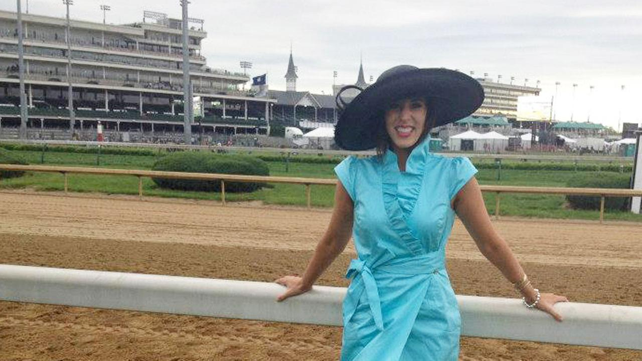 Courtney Fischer, sittin pretty and working hard reporting on the Kentucky Derby.