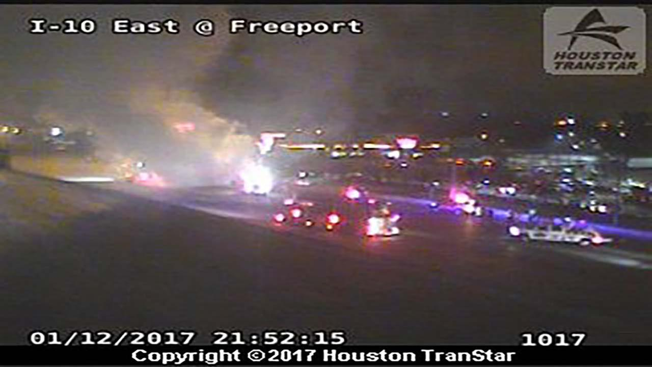 I-10 shut down at Freeport Boulevard due to vehicle fire