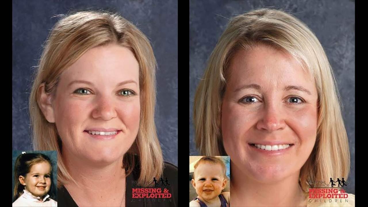 Kimberly Yates, left, and Kelly Yates, right, are shown in age progression photos from the National Center for the Missing and Exploited Children.