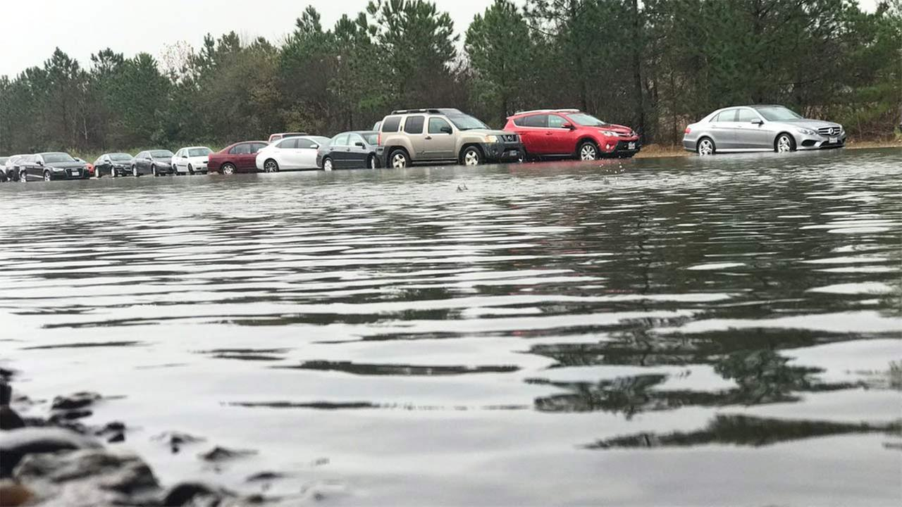 Cars stranded on Highway 288 due to flooding