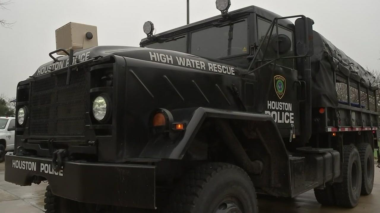 The City of Houston recently acquired military-grade boats and trucks for use in high-water rescue situations.