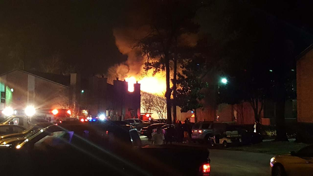 Flames engulf building at City Station apartment complex on Cypress Station Dr. in northwest Harris County