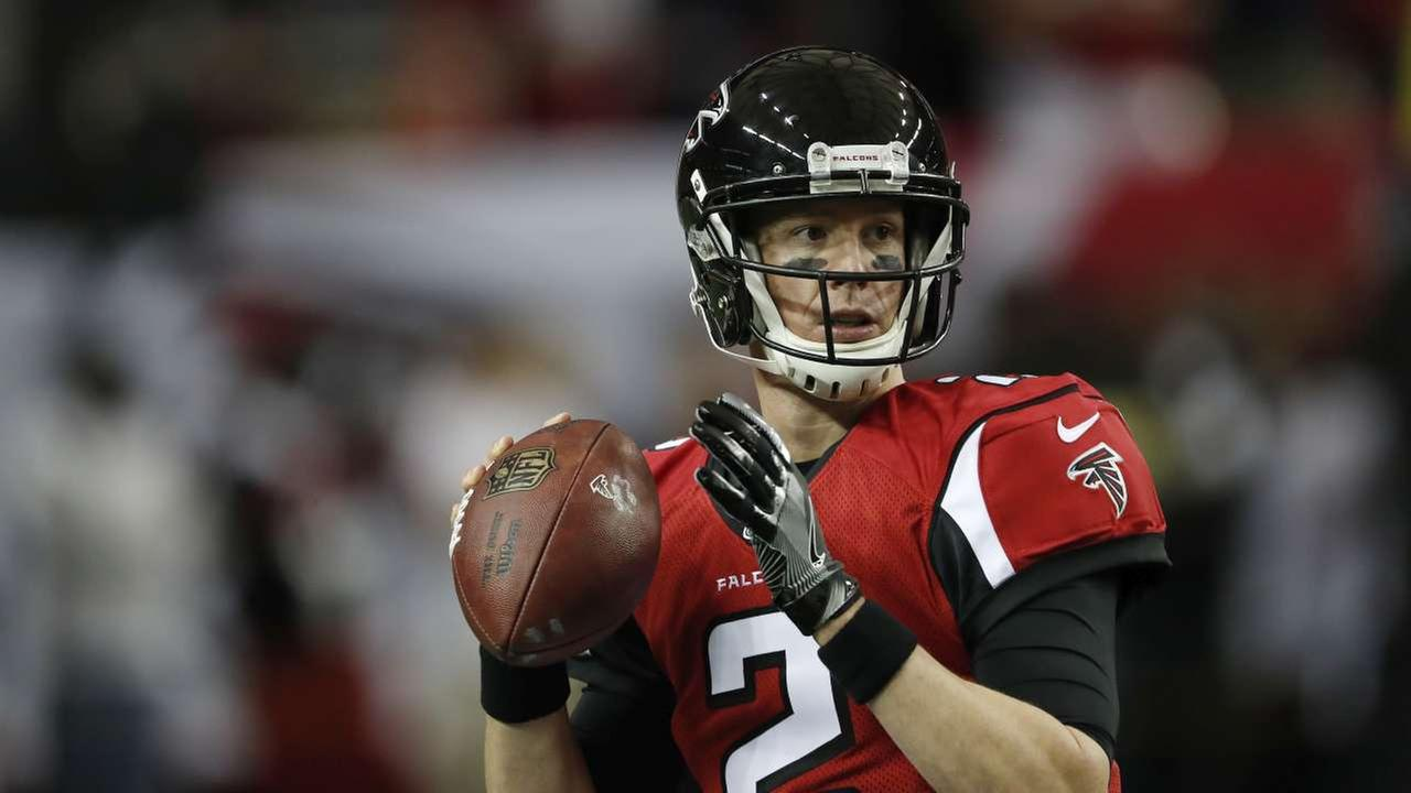 FILE - In this Saturday, Jan. 14, 2017 file photo, Atlanta Falcons quarterback Matt Ryan (2) warms up before the first half of an NFL football NFC divisional playoff gameAP