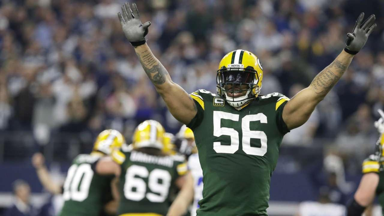 FILE - In this Sunday, Jan. 15, 2017 file photo, Green Bay Packers outside linebacker Julius Peppers (56) celebrates after winning an NFL divisional playoff football gameAP