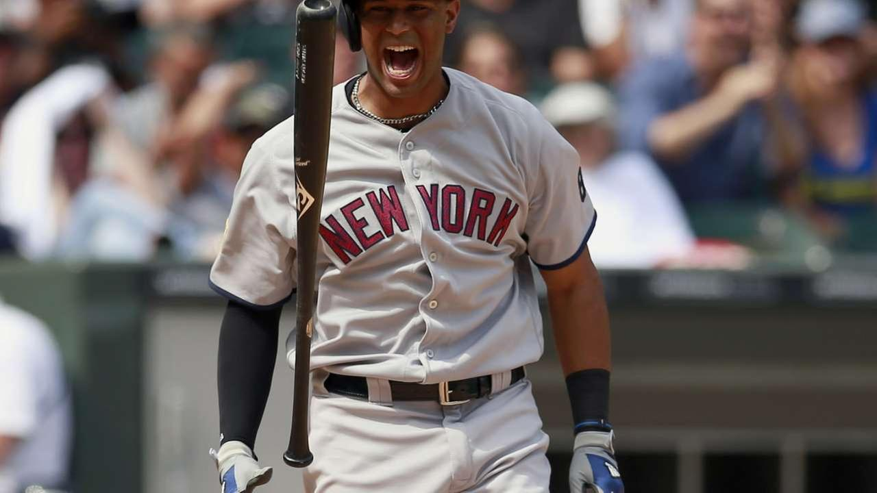FILE - In this July 4, 2016, file photo, New York Yankees Aaron Hicks reacts to striking out in the eight inning of a baseball game against the Chicago White Sox in Chicago.AP