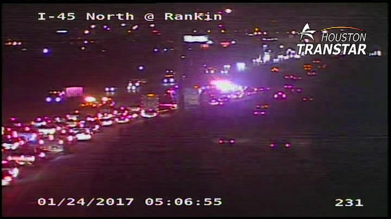 Harris County deputy transported to hospital after accident on North Freeway and Rankin