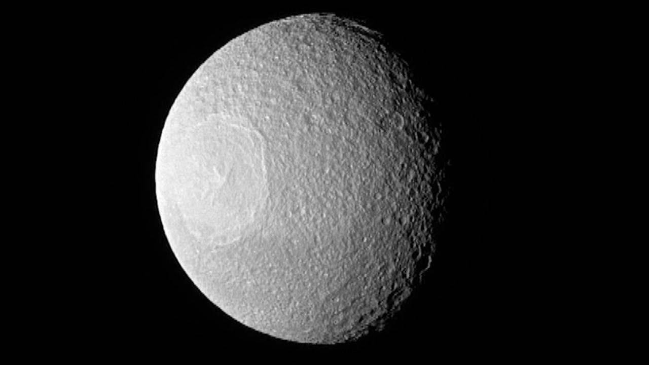Saturn moon looks like Death Star