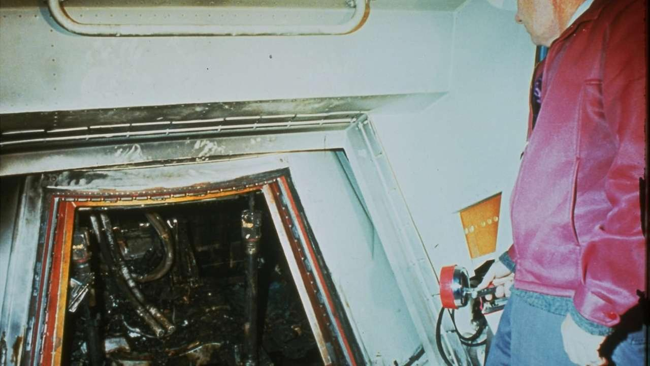 This 1967 file photo shows the charred interior of the Apollo I spacecraft after a fire which killed astronauts Ed White, Roger Chaffee, and Virgil Grissom on Jan. 27, 1967.AP