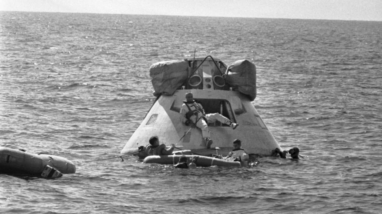 An Apollo spacecraft in the Gulf of Mexico during training about five miles off the coast of Galveston, Texas.AP (Oct. 27, 1966)