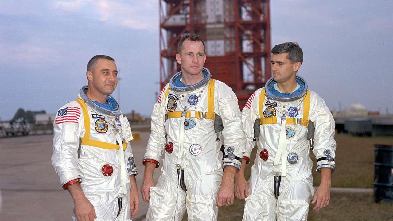 From left, veteran astronaut Virgil Grissom, first American spacewalker Ed White and rookie Roger Chaffee, stand for a photograph in Cape Kennedy, Fla.AP