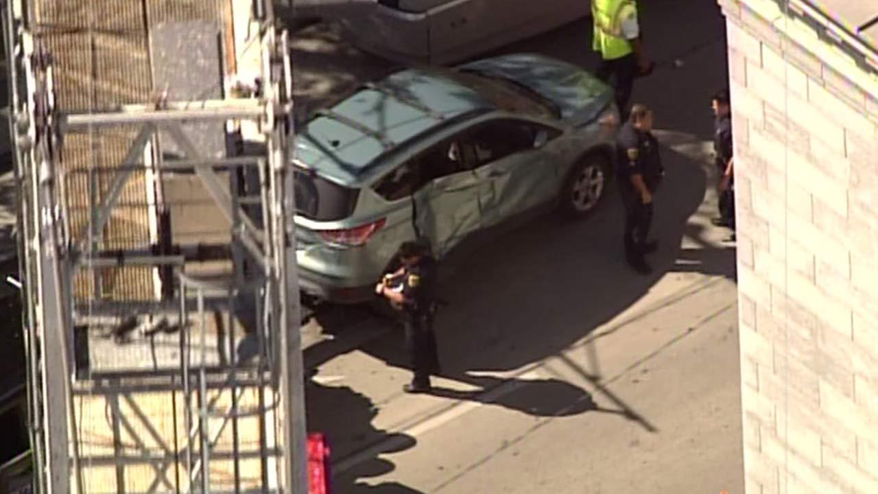 Car collides with METRORail train in downtown Houston