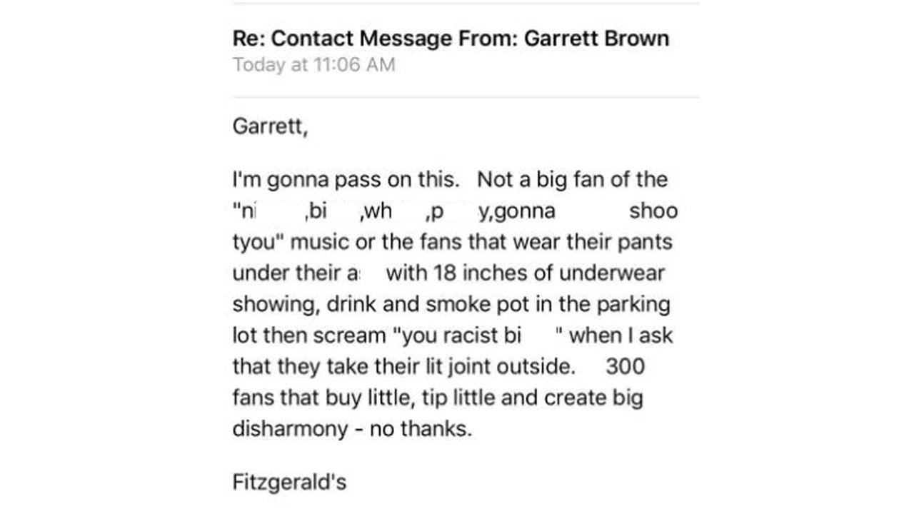 Fitzgerald's says response has been positive after controversial email post